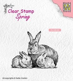 Nellie Snellen - Clearstamp -rabbit family