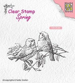 """Nellie Snellen - Clearstamp -Spring""""two birds"""""""