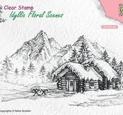 Nellie Snellen - Idyllic floral scene - Snowy landscape withhouse