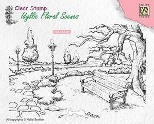 Nellie Snellen - Idyllic floral scene - Wintery park with bench
