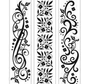 Embossing folder - 3,5x14,5cm x3 borders flourishes