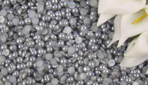 ca 230 st halvpärlor, Färg: Stålgrå, 5 mm