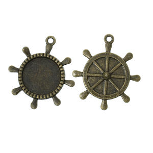 2 st Båtratt-medaljong - antikfärgad