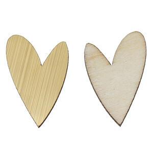 6 st Hjärta Spegelblanka guld, fanér