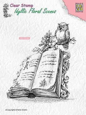 "Nellie Snellen -Clear stamps Idyllic Floral scenes ""book with a owl"""