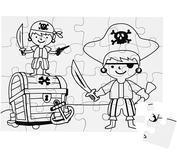 Pussel att färglägga själv -pirater