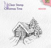 Nellie Snellen Christmas time clearstamp -Cosily snowy cottage