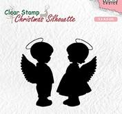 Nellie Snellen Christmas silhouette clearstamp - angelboy and girl
