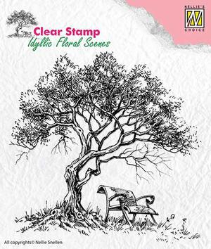 Nellie Snellen - Clear stamp - tree with a beanch