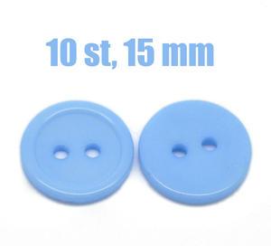 10 st ljusblå knappar