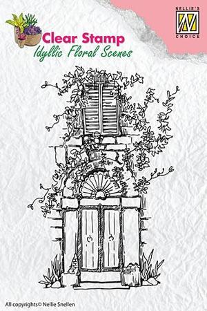 Nellie Snellen -CLEAR STAMP - IDYLLI FLORAL SCENES - DOOR WITH BOW & WINDOW