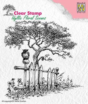 Nellie Snellen -CLEAR STAMP - IDYLLIC FLORAL SCENES - TREE WITH FENCE