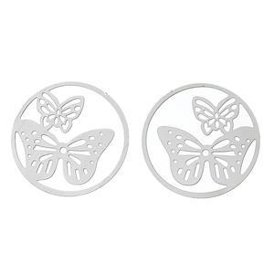 3 st runda silverfärgade fjärilscharms