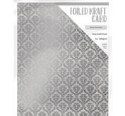 Craft Perfect - Foiled kraft card- Silver damask