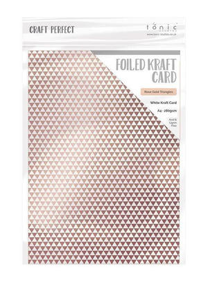 Craft Perfect - Foiled kraft card- Rose gold triangles