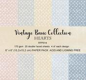 Reprint paper-Vintage Basic Collection - Hearts 15 x 15 cm