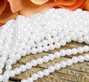 Pärlor på tråd - 6 mm - vit