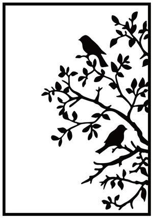 Nellie Snellen - Embossing folder - birds on branch