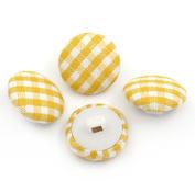 10 st rutiga knappar gul/vit -TYG