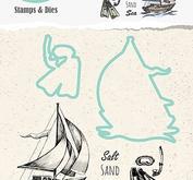 "Nellie Snellen  Holliday Die with clear stamp set ""boat"" 50x65mm + dies"