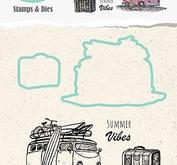 """Nellie Snellen  Holliday Die with clear stamp set """"bus"""" 70x47mm + dies"""