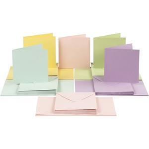 50 st kort & kuvert, pastell